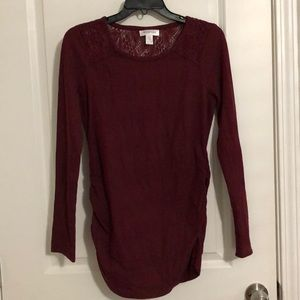 Maroon Long Sleeve Lace Maternity Top